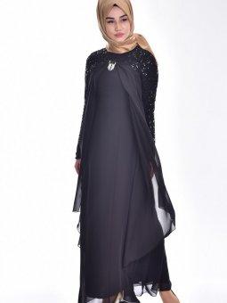 Broş Detaylı Şifon Siyah Abiye Elbise