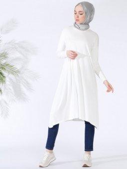 Doğal Kumaşlı Asimetrik Beyaz Tunik