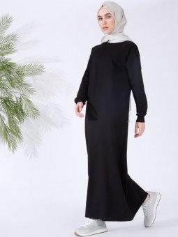 Düz Renk Spor Siyah Elbise