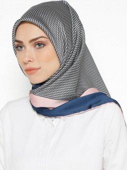 Lacivert Pudra Cocoon Silk Klasik Eşarp