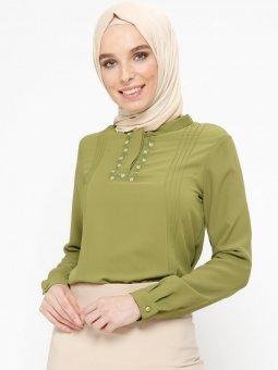 Nakış Detaylı Fıstık Yeşili Bluz
