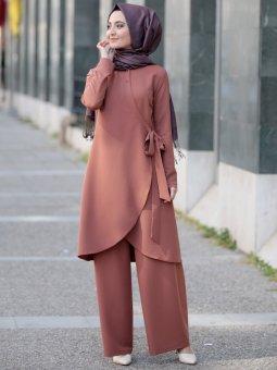 Marin Pantolon&Tunik İkili Taba Takım