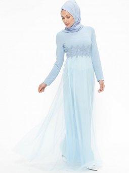 Güpür Detaylı Simli Bebe Mavisi Abiye Elbise