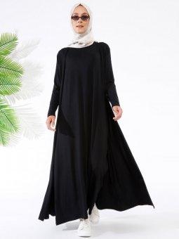 Kolsuz Elbise&Hırka İkili Siyah Takım