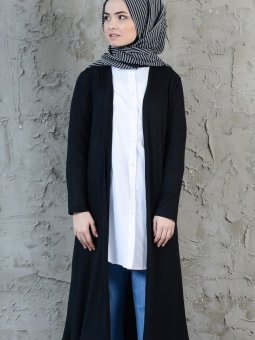 Çizgili Uzun Siyah Hırka