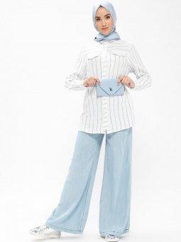 Bol Paça Tensel Açık Mavi Pantolon