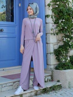 Dina Pantolon&Tunik İkili Lila Takım