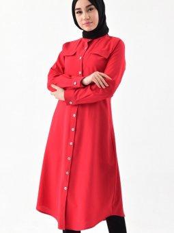 Düğmeli Kırmızı Tunik