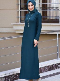 Kolyeli Zümrüt Yeşili Elbise
