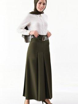 Kemerli Haki Yeşil Pantolon Etek