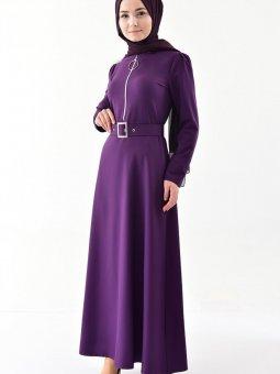Fermuar Detaylı Kemerli Mor Elbise