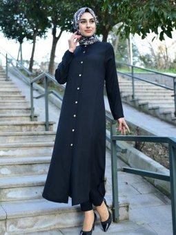 Düğmeli Uzun Siyah Tunik