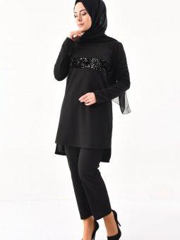 Payet Detaylı Tunik Pantolon İkili Siyah Takım